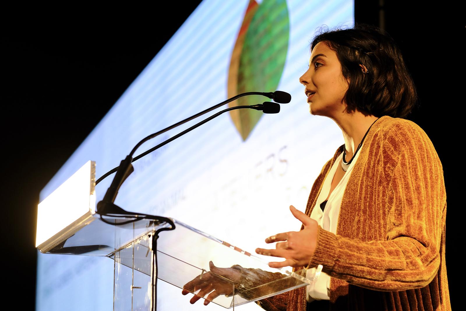 O Prémio Empreendedorismo e Inovação foi apresentado no Grande Auditório do PEB pela Maria Pedro Silva, coordenadora na INOVISA, parceira do Crédito Agrícola